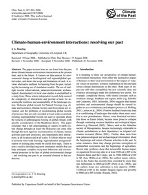 Climate-human-environment Interactions: ... by Dearing, J. A.