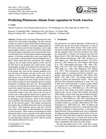 Predicting Pleistocene Climate from Vege... by Loehle, C.