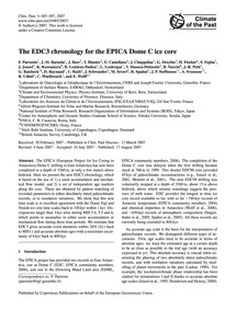 The Edc3 Chronology for the Epica Dome C... by Parrenin, F.
