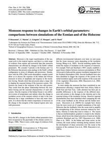 Monsoon Response to Changes in Earth's O... by Braconnot, P.