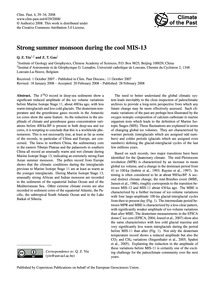 Strong Summer Monsoon During the Cool Mi... by Yin, Q. Z.