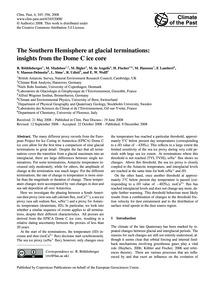 The Southern Hemisphere at Glacial Termi... by Röthlisberger, R.