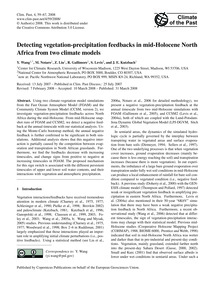 Detecting Vegetation-precipitation Feedb... by Wang, Y.