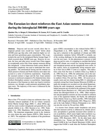 The Eurasian Ice Sheet Reinforces the Ea... by Qiuzhen Yin, A.