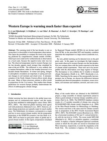 Western Europe is Warming Much Faster Th... by Van Oldenborgh, G. J.