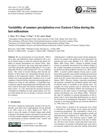 Variability of Summer Precipitation Over... by Shen, C.