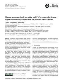 Climate Reconstruction from Pollen and Δ... by Hatté, C.