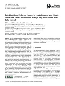 Late Glacial and Holocene Changes in Veg... by Tarasov, P. E.