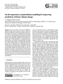 On the Importance of Paleoclimate Modell... by Hargreaves, J. C.