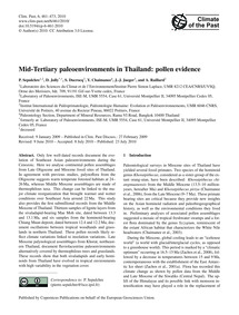 Mid-tertiary Paleoenvironments in Thaila... by Sepulchre, P.