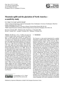 Mountain Uplift and the Glaciation of No... by Foster, G. L.