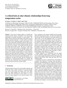 A Critical Look at Solar-climate Relatio... by Legras, B.