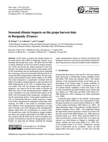 Seasonal Climate Impacts on the Grape Ha... by Krieger, M.