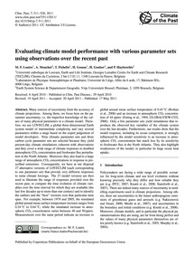Evaluating Climate Model Performance wit... by Loutre, M. F.