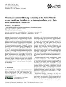 Winter and Summer Blocking Variability i... by Rimbu, N.