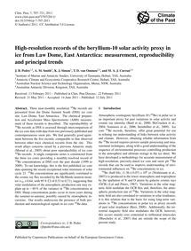 High-resolution Records of the Beryllium... by Pedro, J. B.