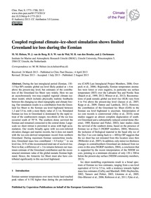 Coupled Regional Climate–ice-sheet Simul... by Helsen, M. M.