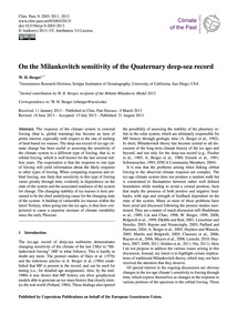 On the Milankovitch Sensitivity of the Q... by Berger, W. H.