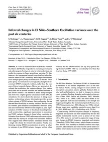 Inferred Changes in El Niño–southern Osc... by McGregor, S.
