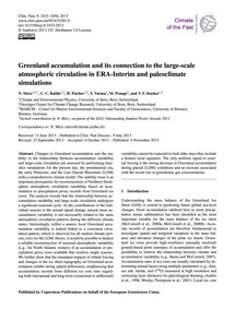 Greenland Accumulation and Its Connectio... by Merz, N.