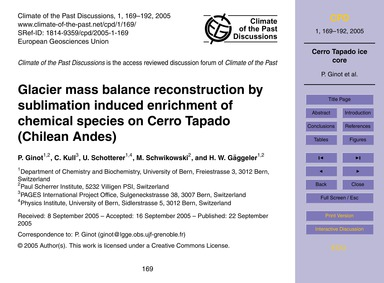Glacier Mass Balance Reconstruction by S... by Ginot, P.