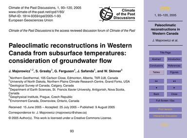 Paleoclimatic Reconstructions in Western... by Majorowicz, J.
