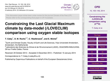 Constraining the Last Glacial Maximum Cl... by Caley, T.
