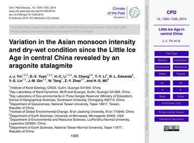 Variation in the Asian Monsoon Intensity... by Yin, J.-j.