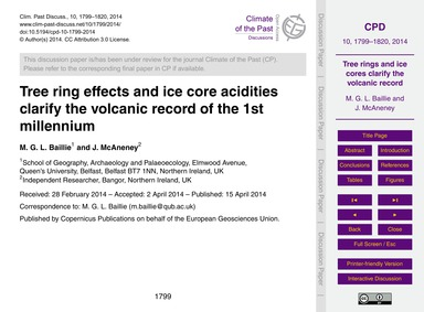 Tree Ring Effects and Ice Core Acidities... by Baillie, M. G. L.