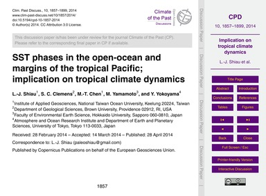 Sst Phases in the Open-ocean and Margins... by Shiau, L.-j.