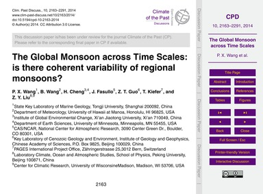 The Global Monsoon Across Time Scales: i... by Wang, P. X.