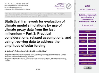 Statistical Framework for Evaluation of ... by Moberg, A.