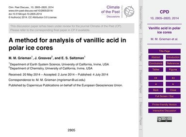 A Method for Analysis of Vanillic Acid i... by Grieman, M. M.