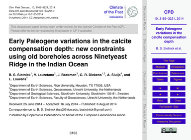 Early Paleogene Variations in the Calcit... by Slotnick, B. S.