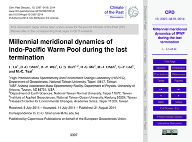 Millennial Meridional Dynamics of Indo-p... by Lo, L.