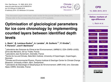 Optimisation of Glaciological Parameters... by Bazin, L.