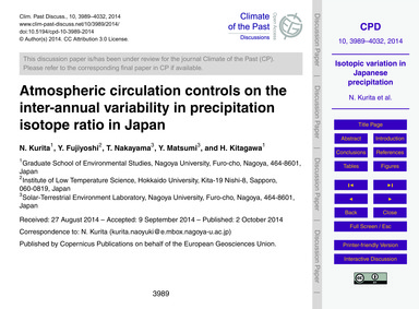 Atmospheric Circulation Controls on the ... by Kurita, N.