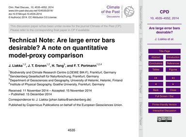 Technical Note: Are Large Error Bars Des... by Liakka, J.