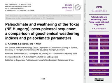 Paleoclimate and Weathering of the Tokaj... by Schatz, A.-k.