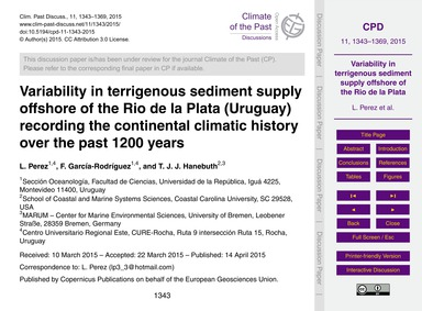 Variability in Terrigenous Sediment Supp... by Perez, L.