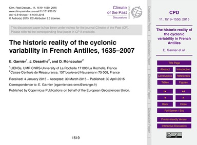 The Historic Reality of the Cyclonic Var... by Garnier, E.