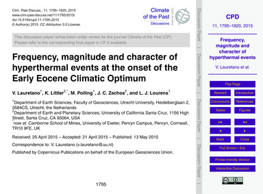 Frequency, Magnitude and Character of Hy... by Lauretano, V.