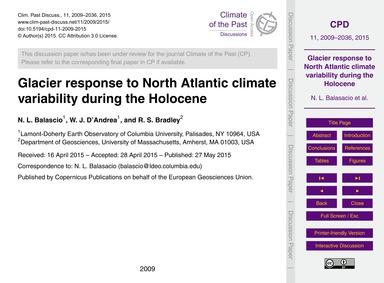 Glacier Response to North Atlantic Clima... by Balascio, N. L.