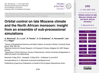 Orbital Control on Late Miocene Climate ... by Marzocchi, A.