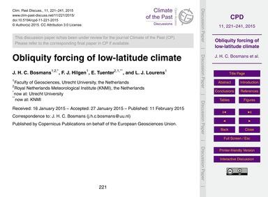Obliquity Forcing of Low-latitude Climat... by Bosmans, J. H. C.