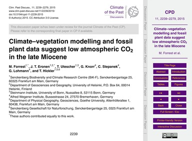 Climate–vegetation Modelling and Fossil ... by Forrest, M.