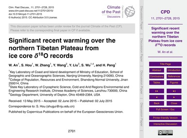 Significant Recent Warming Over the Nort... by An, W.