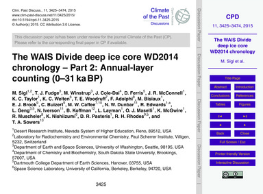 The Wais Divide Deep Ice Core Wd2014 Chr... by Sigl, M.