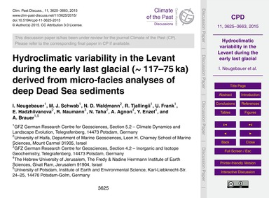 Hydroclimatic Variability in the Levant ... by Neugebauer, I.