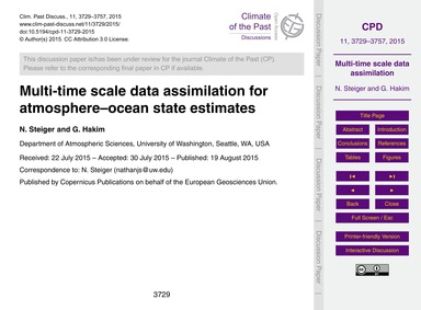 Multi-time Scale Data Assimilation for A... by Steiger, N.